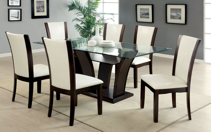 Dining Table CM3710T - Manhattan Dark Cherry Dining Table with 6 White Chairs