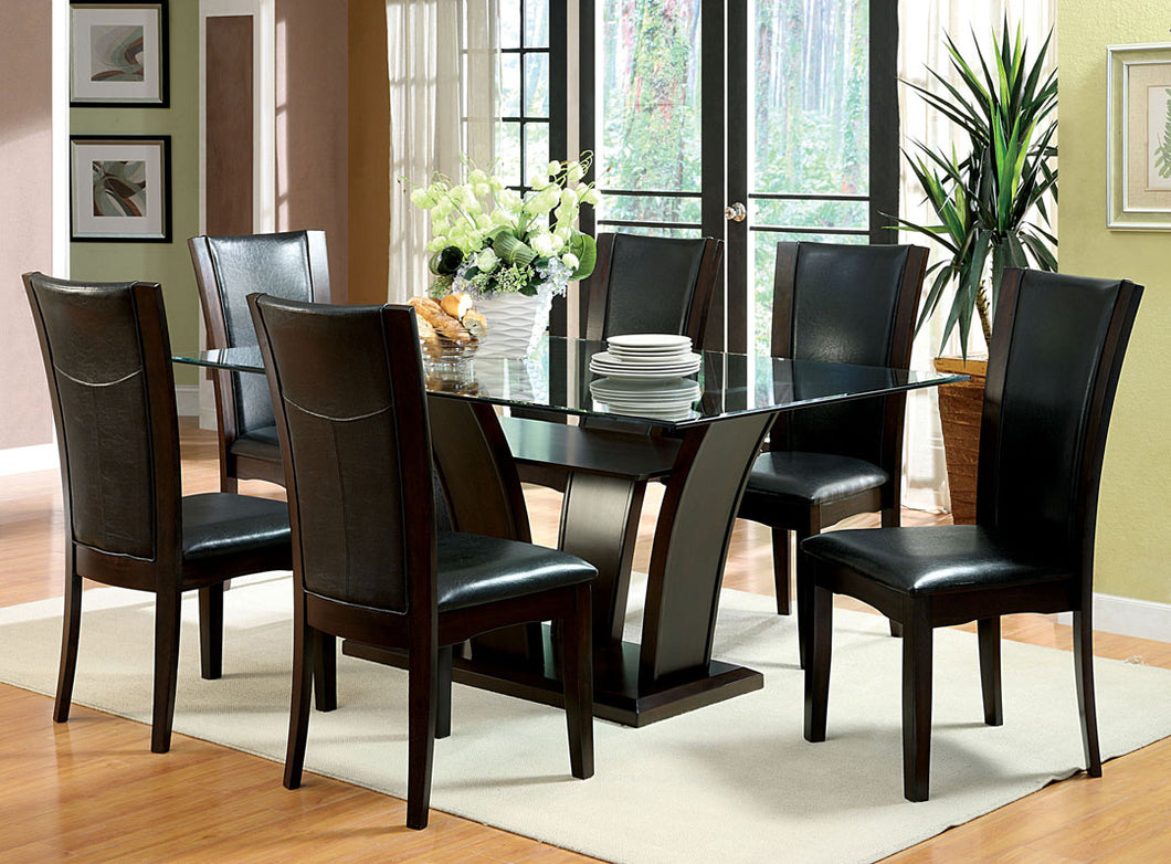 Dining Table CM3710T - Manhattan Dark Cherry Dining Table with 6 Black Chairs