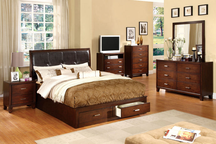 CM7066 - Enrico Brown Cherry Queen Platform Storage Bed