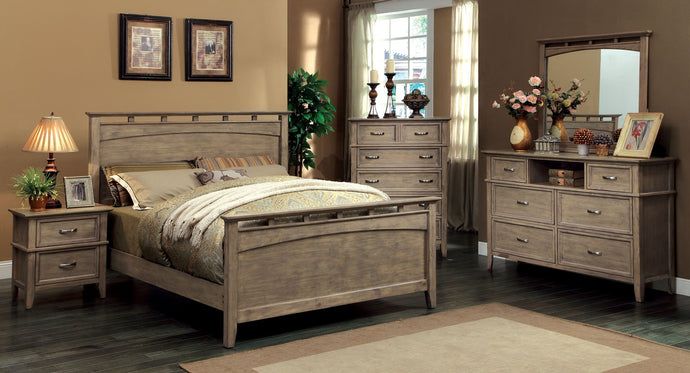 CM7351 Loxley Weathered Oak Finish Queen Bed
