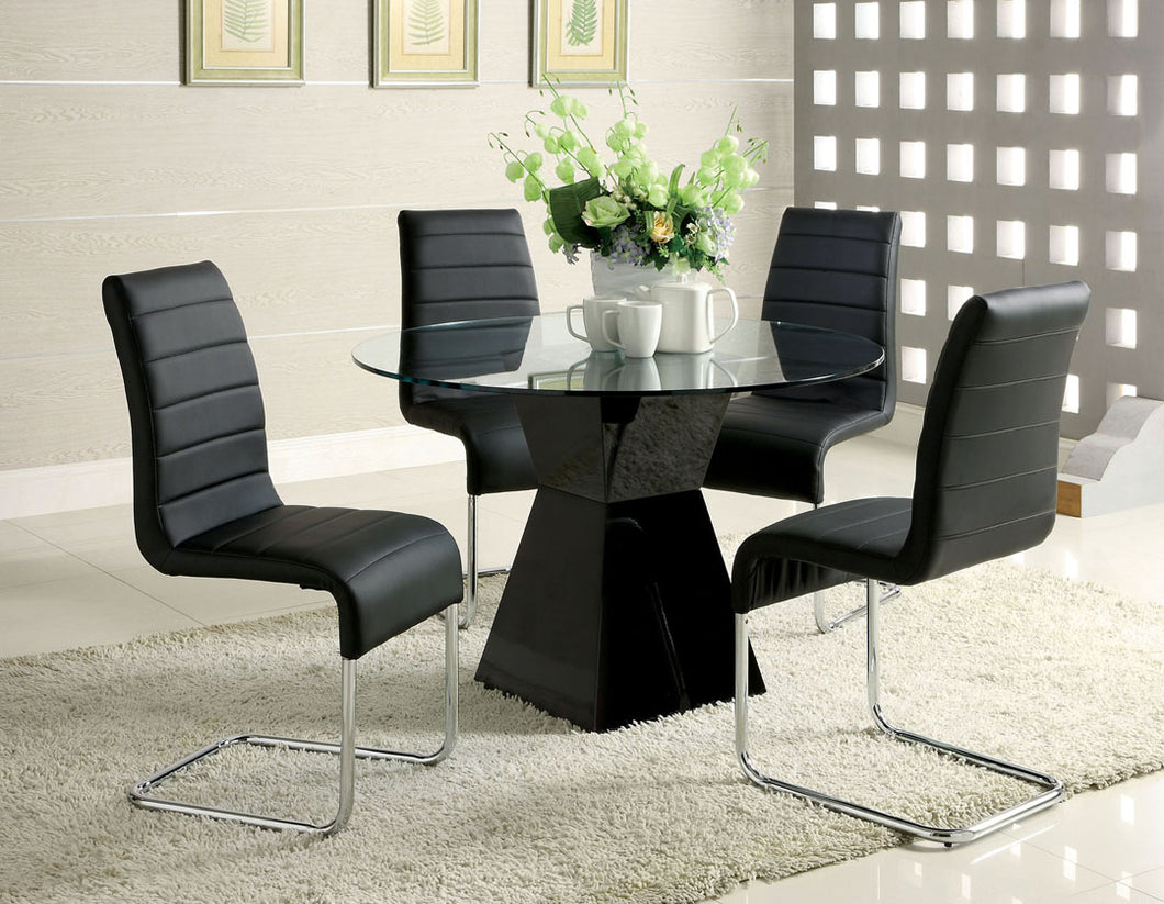 Dining Table CM8371BK-T - Mauna Black Dining Table with 4 Black Chairs
