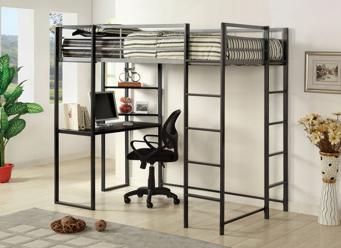 CM-BK1098T Twin Loft Bed - Sherman Silver & Gun Metal Finish Contemporary Twin Loft Bed with Workstation