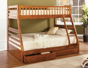 CM-BK601A Bunk Bed - California II Transitional Style Oak Finish - Twin over Full Bunk Bed with 2 Drawers