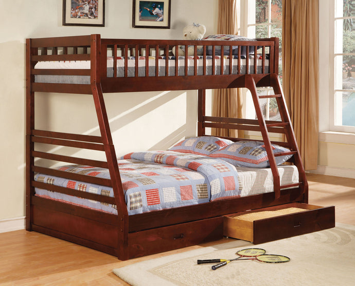 CM-BK601CH Bunk Bed - California II Cherry Twin/Full Bunk Bed with 2 Drawers