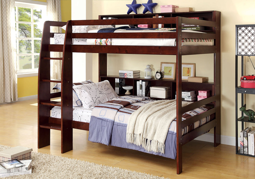 CM-BK613EX Twin/Twin Bunk Bed - Camino Contemporary Style Dark Walnut Twin over Twin Bunk Bed with Shelves