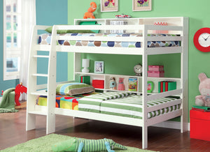 CM-BK613WH Twin/Twin Bunk Bed - Camino Contemporary Style White Finish Twin over Twin Bunk Bed with Shelves
