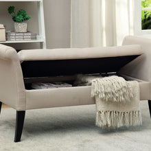 CM-BN6190 Storage Bench - Doheny Contemporary Style Ivory Finish Fabric Storage Bench