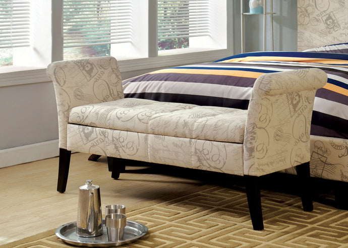 CM-BN6190 Storage Bench - Doheny Contemporary Style World Traveler Pattern Fabric Storage Bench