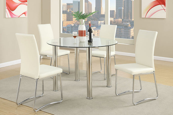 F2200 - Nella Dining Table with 4 White Chairs