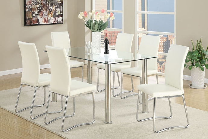 F2204 - Nella Dining Table with 6 White Chairs - Available in Black