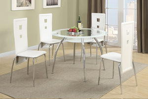 F2210 - Plaza II Dining Table with 4 White Chairs