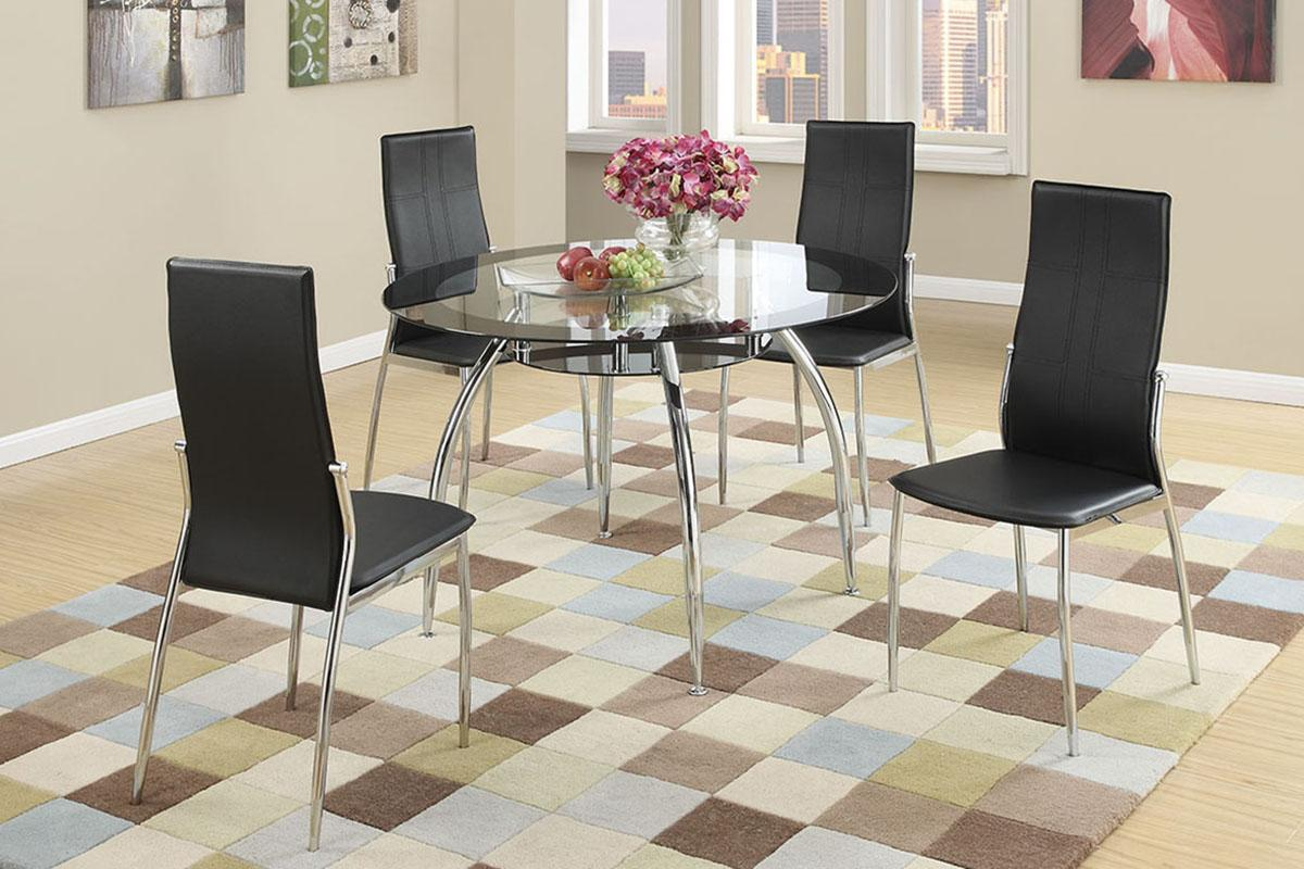 Excellent F2211 Axis Dining Table With 4 Black Chairs Evergreenethics Interior Chair Design Evergreenethicsorg