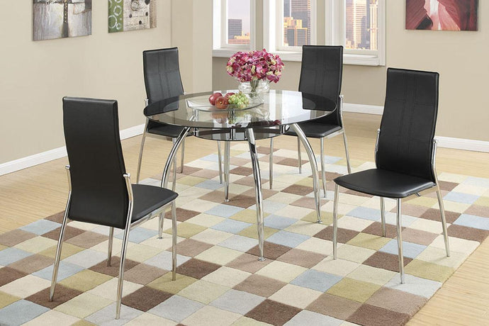 F2211 - Axis Dining Table with 4 Black Chairs