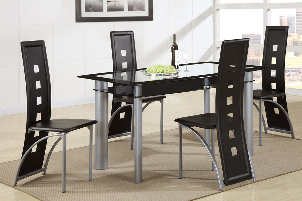 Dining Table F2212 - Plaza Glass Top Dining Table with 4 Chairs