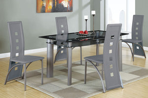F2212 - Plaza Dining Table with 4 Grey Chairs