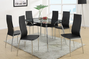7-Piece Dining Table Set F2225 - Modern Glass Top Dining Table with 6 White Chairs