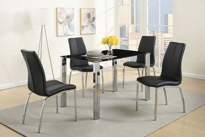 F2314 - Beno Dining Table with 4 Black Chairs