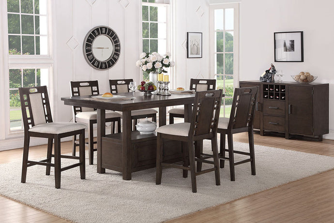 F2384 - Counter Height Dining Table with 6 Chairs