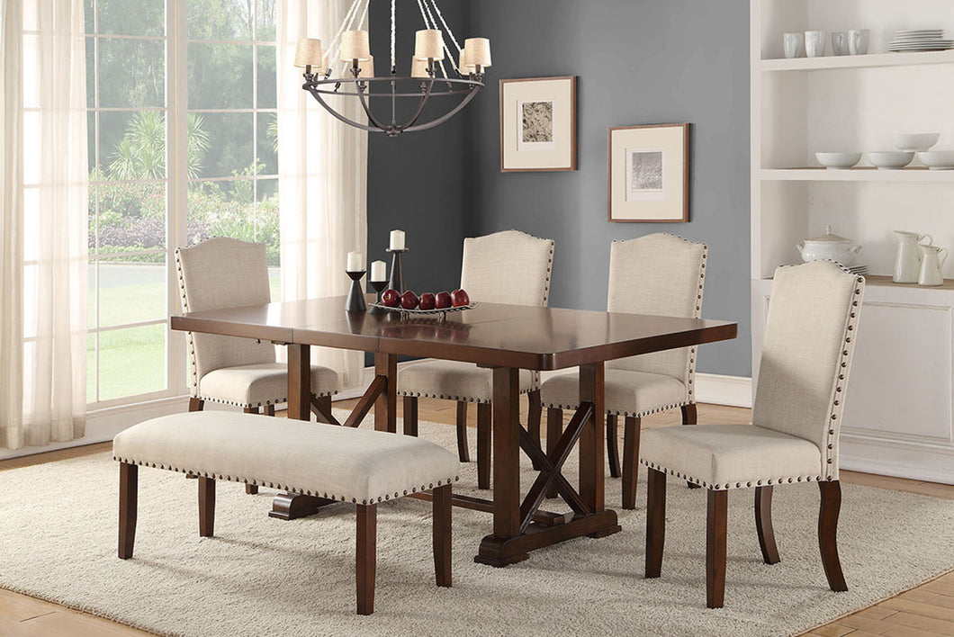 F2398 - F1546 - Dining Table with 4 Chairs & 1 Bench