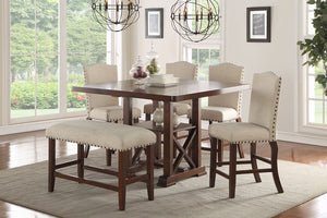 F2399 - Counter Height Dining Table with 4 Chairs and 1 Bench