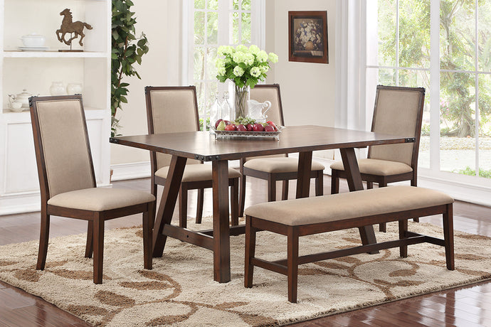 F2435 - Dining Table with 4 Chairs & 1 Bench - Available with 6 Chairs
