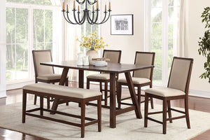 F2436 - Counter Height Dining Table with 4 Chairs and 1 Bench - Available with 6 Chairs