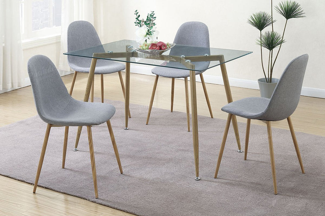 F2457 - Claris Dining Table with 4 Grey Chairs