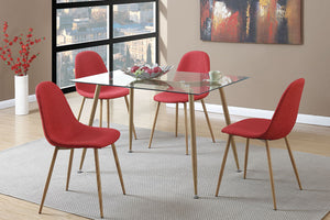 F2457 - Claris Dining Table with 4 Red Chairs