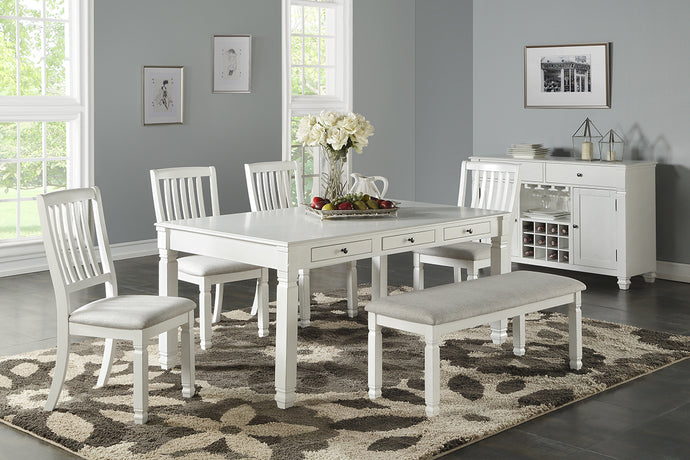 F2465 - Dining Table with 4 Chairs & 1 Bench - Available with 6 Chairs