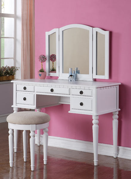 F4074  - Edna 5 Drawers Makeup Vanity Table with Stool