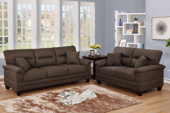 F6406 - Travis 2-PCs Black Coffee Sofa and Loveseat