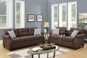F6413 - Divano Dark Coffee Sofa and Loveseat