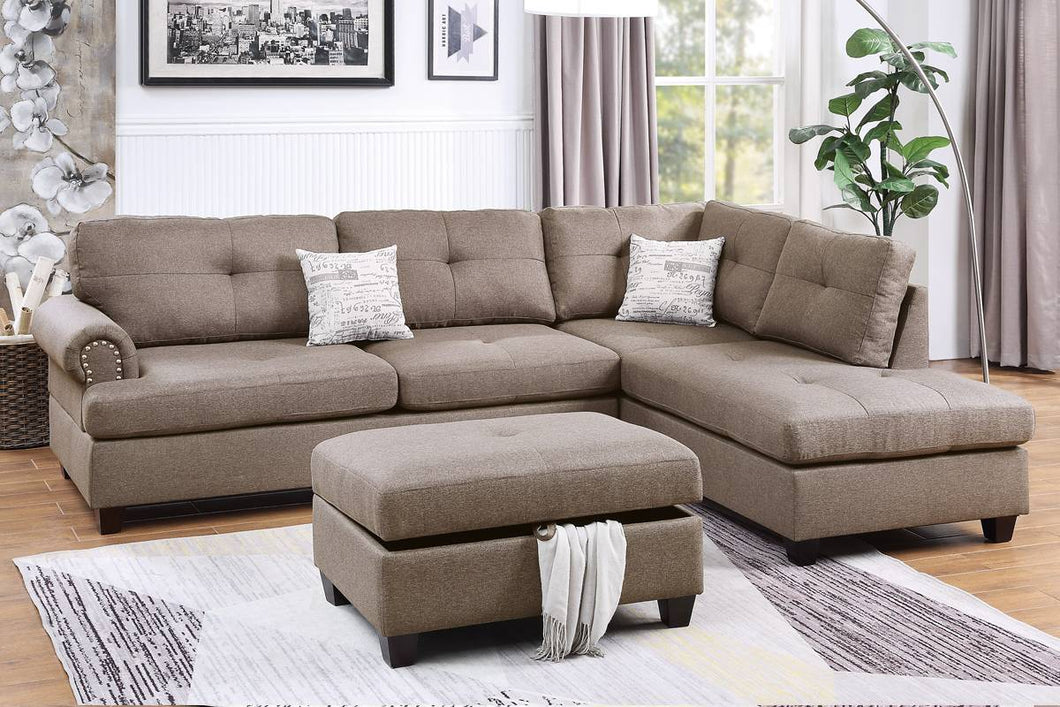 F6416 - Ashton Reversible Sectional with Storage Ottoman