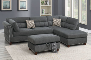 F6417 - Mira Reversible Sectional with Storage Ottoman