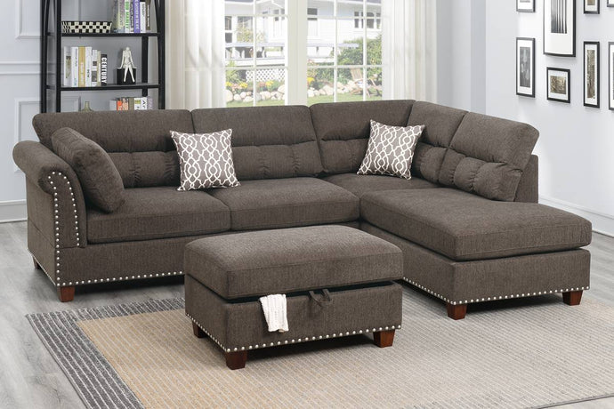 F6418 - Mira Reversible Sectional with Storage Ottoman