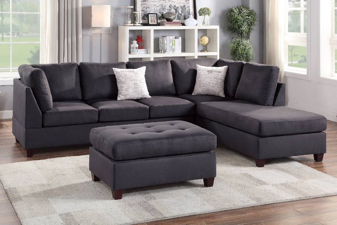 F6423 - Kane Ebony Reversible Sectional with Ottoman