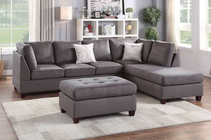 F6424 - Kane Gray Reversible Sectional with Ottoman