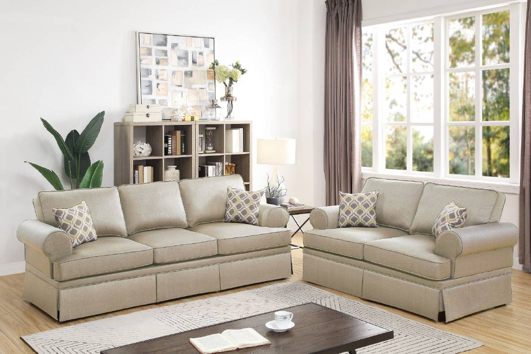 F6442 - Teora 2-PCs Beige Sofa and Loveseat