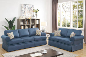 F6443 - Teora 2-PCs Blue Sofa and Loveseat