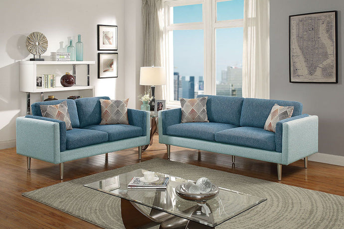 F6555 - Mona 2-PCs Blue/Aqua Sofa and Loveseat