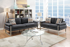 F6557 - Olivia 2-PCs Ash/Black Sofa and Loveseat