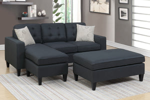 F6575 - Nora Black All-In-One Reversible Sectional