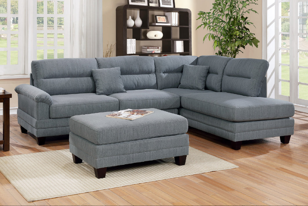 F6585 - Monte Gray Reversible Sectional with Ottoman