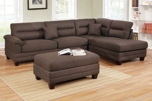 F6586 - Monte Black Coffee Reversible Sectional with Ottoman