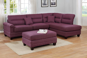 F6587 - Monte Warm Purple Reversible Sectional with Ottoman