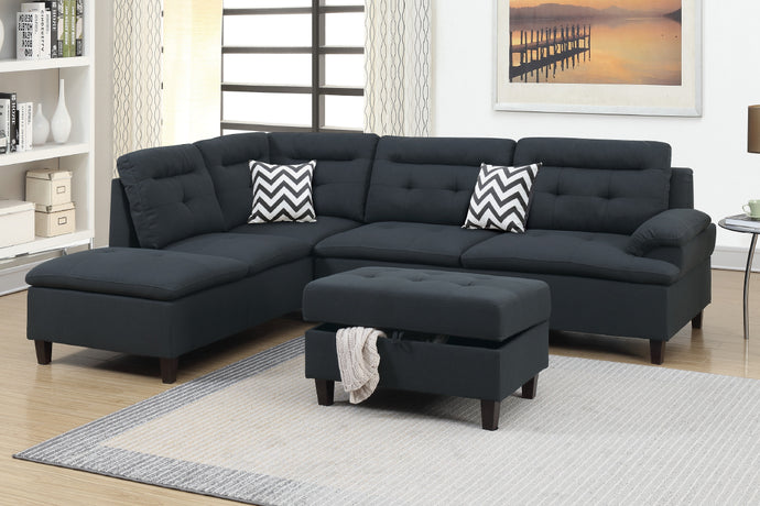 F6588 - Ashton Black Sectional with Storage Ottoman