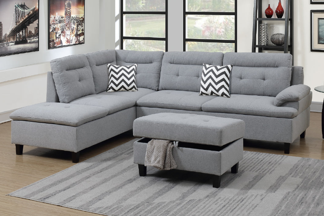 F6589 - Ashton Gray Sectional with Storage Ottoman