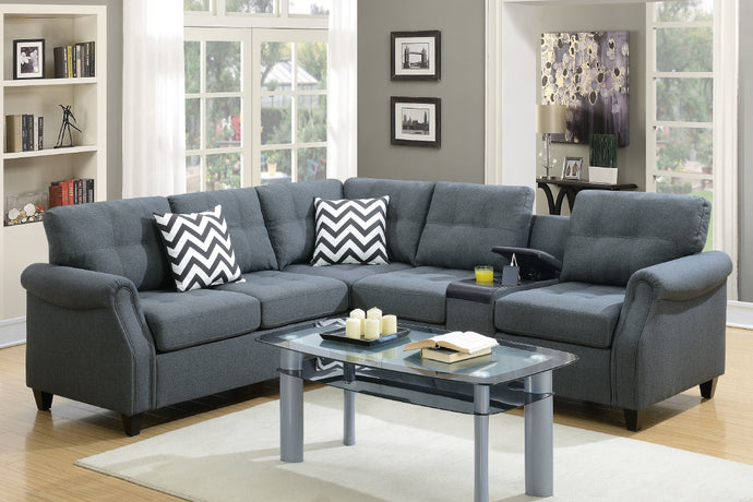 F6594 - Divano Blue Gray Modular Sectional with Console