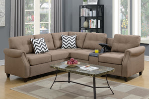 F6595 - Divano Light Coffee Modular Sectional with Console