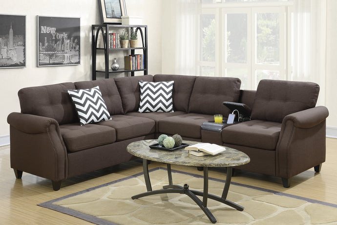 F6596 - Divano Dark Coffee Modular Sectional with Console